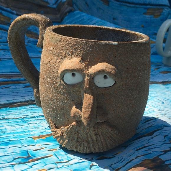 1970s Mustache Man Handmade Pottery Clay Mug